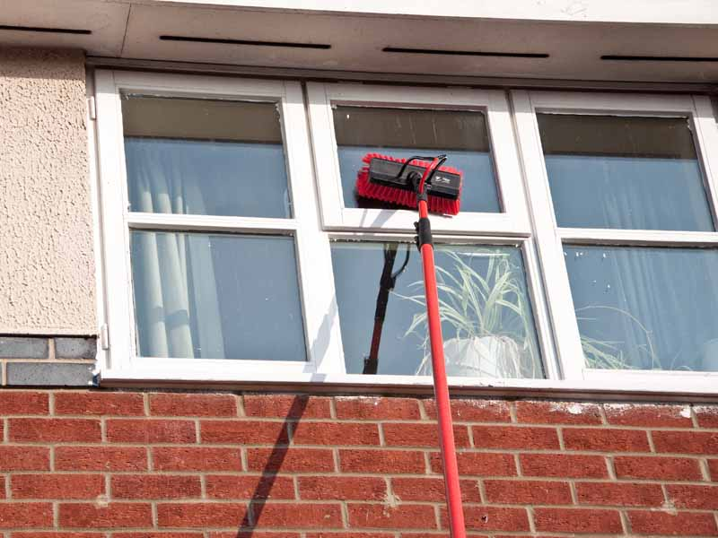 Exterior window cleaning pole system.