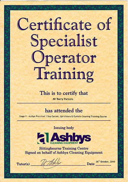 Ashby's certificate for carpet, upholstery and curtain cleaning.