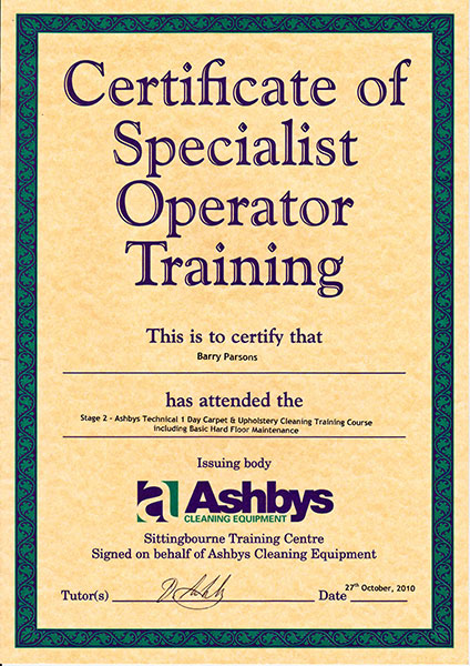 Ashby's certificate for carpet and upholstery cleaning including hard floor maintenance.