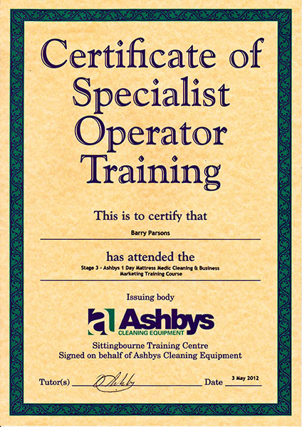 Ashby's certificate for matress medic cleaning and business marketing.